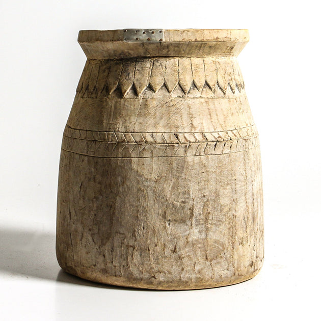 Bleached Wooden Oil Pots - Indian