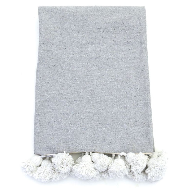 Moroccan Pom Pom Throw - Graphite