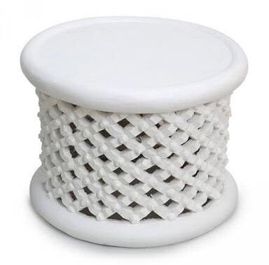 Bamileke Stool - Table - White