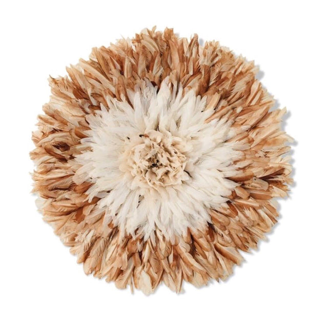 Bamileke Feather Juju Hat - White with Natural Brown Tips