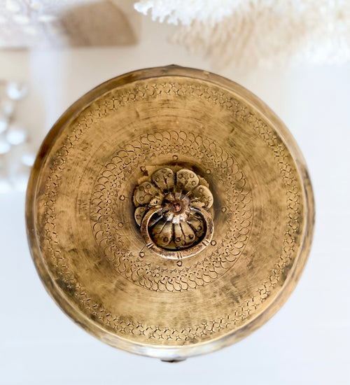 Round Brass Trinket Box - Chest, Hand-Etched