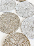 Beaded Coasters - Natural & White