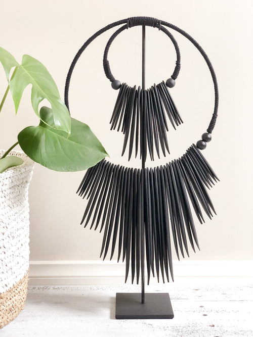Carved Wooden Wall Hanging - Double in Black