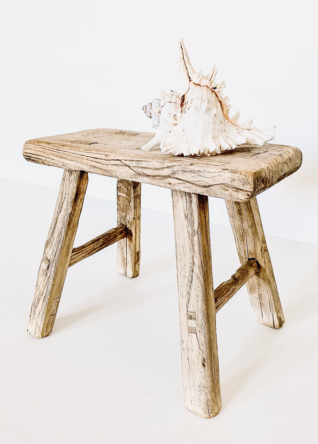 Elm Wood Workers Stool - Mini