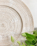 White-washed Woven Rattan Plate