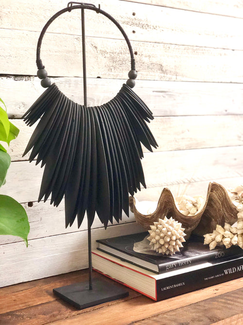 Carved Wooden Wall Hanging - Single - Black