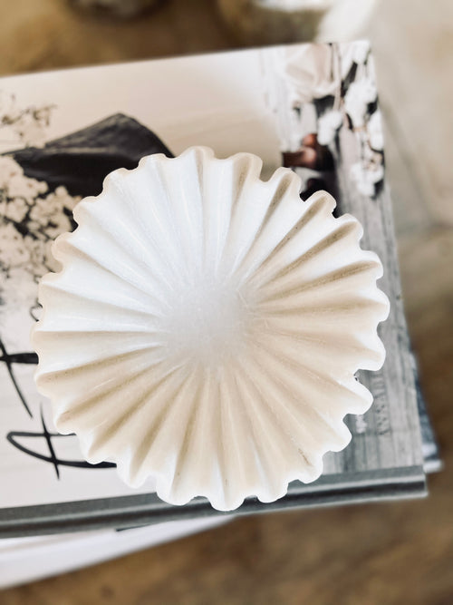 Marble Fluted Bowl - Wavy Ripple - Hand Carved