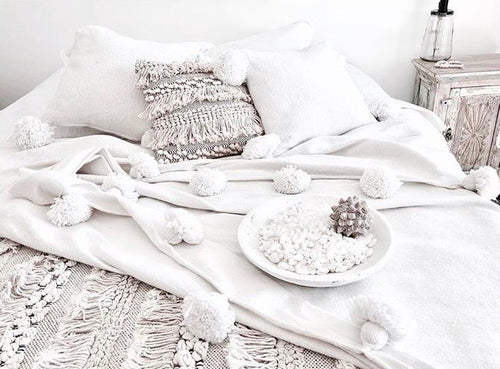 Moroccan Pom Pom Blanket/Throw - Blanc