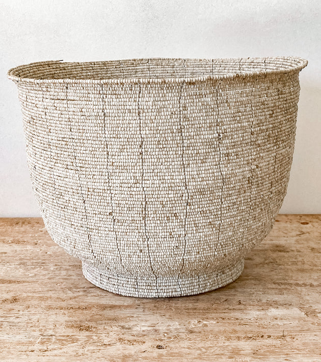 Beaded Basket - Natural