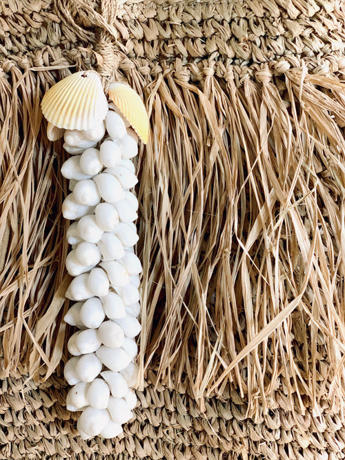 Shell Cluster Tassels - White & Grey