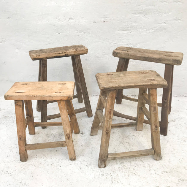 Elm Wood Workers Stool - Small