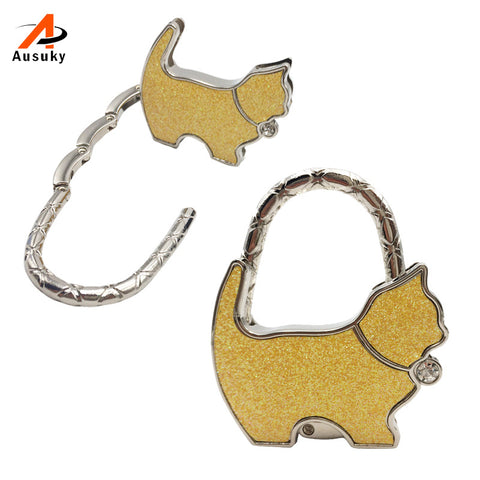 1 Pc New Originality Lovely Color Revising Cat Design Handbag Folding Bag Purse Hook Hanger Holder For Gift Cat Lock Bling 30