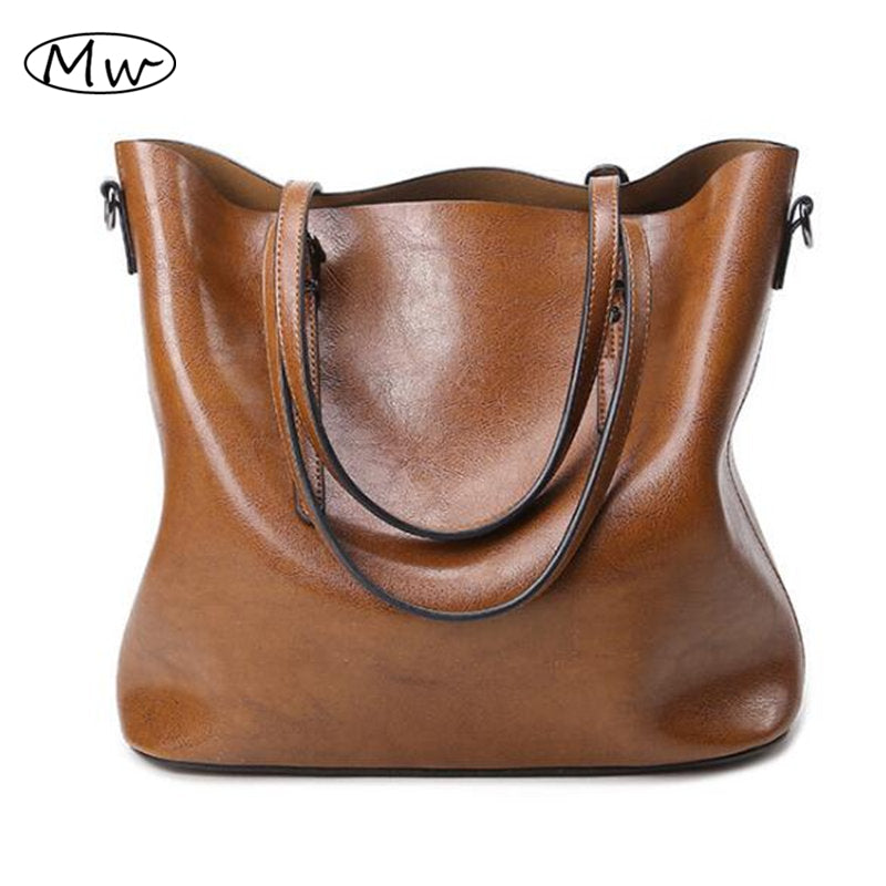 2016 Autumn Fashion Women Leather Handbags Large Capacity Tote Bag Oil