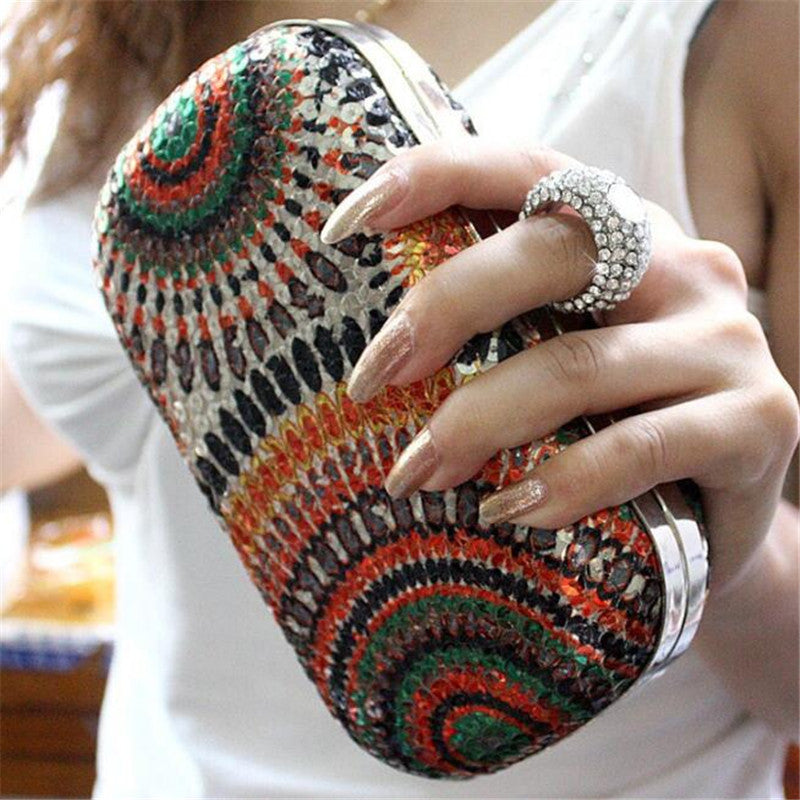 2015 New Women Clutch Knuckle Rings Evening Bag Ladies Party Wedding