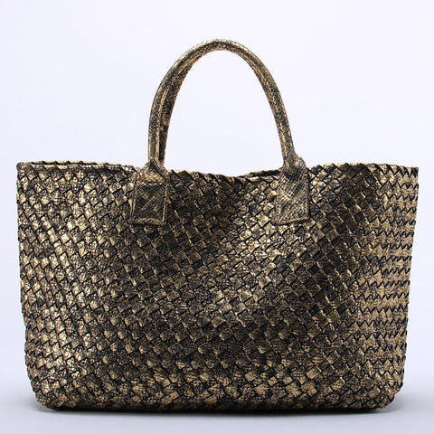 10 Colors Brand Shinning Woven Leather Handbag Cross Stitch Hobo Women's Knitting Serpentine Bag Large Casual Tote