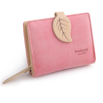 2016 Brand New Women Leaf Hasp Wallet Fashion Short Middle Long
