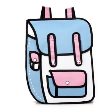2016 New Fashion 2D Bags Novelty Back To School Bag 3D Drawing Cartoon