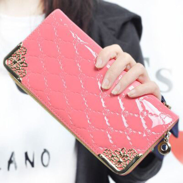 2016 Luxury Vintage Brand Women Long Patent Leather Plaid Wallet