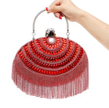2016 Oval Clutch Bags Red Mini Clutches Silver Blue Evening Bag Tassel party Purse Shoulder Messenger Bag Chain bolsas feminina