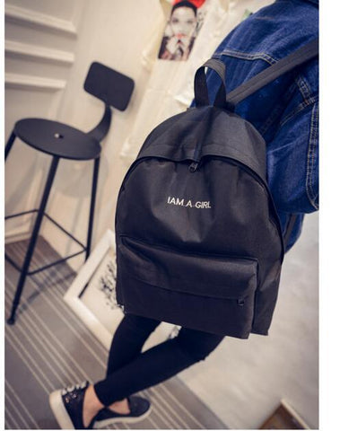 HOT! 2016 New Arrival Women's Backpack Canvas Shoulder Bags Student Preppy Style I AM A GIRL Travel Bags School Backpack