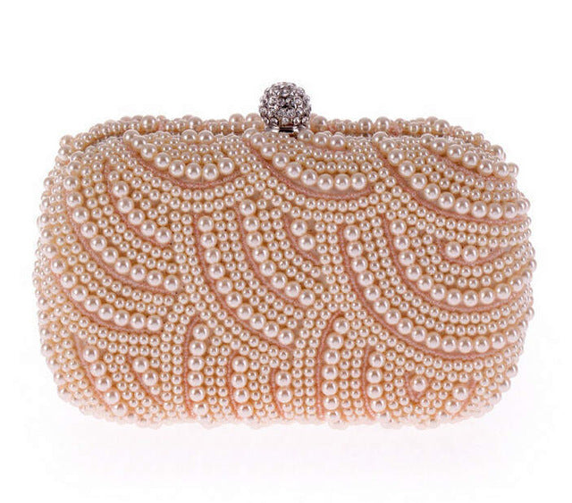 100% Hand made Luxury Pearl Clutch bags Women Purse Diamond Chain