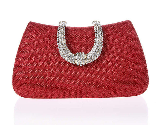 2015 new women crystal U Diamond clasp clutch bags glitter silver