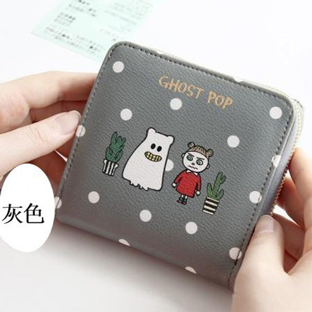 2016 Korean Vintage Cute Anime Cat Leather Women Slim Mini Wallet Girl