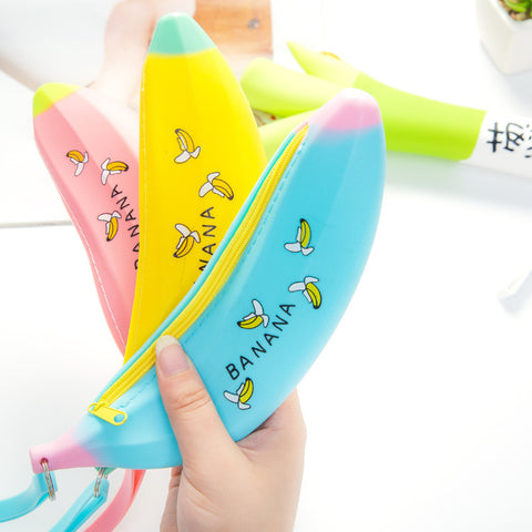 1 Pcs Novelty Banana Pencil Case Kawaii Pencil Bag Rubber Coin Purse Estuches School Supplies Stationery