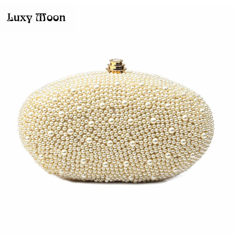 2016 Women's Embroidered Pearls Dinner Purse Handmade Beaded Clutch