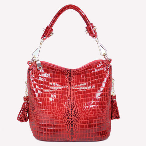 100% Genuine Leather Women Bags Luxury Serpentine Real Leather Women