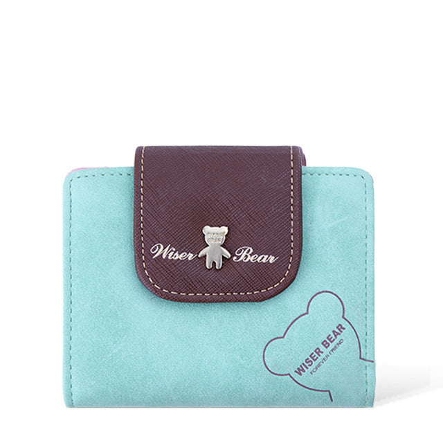 2017 Brand New Lovely Bear Wallet Female Leather Small Change Clasp