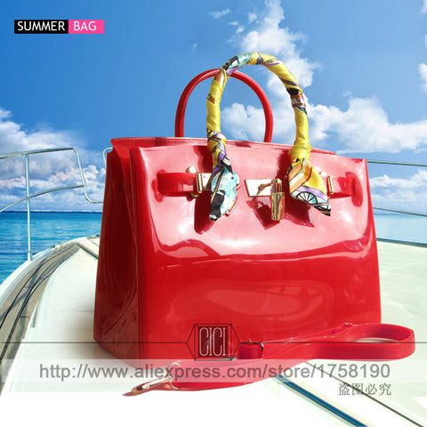 2ddc4dcf2609 Hot sale popular turquoise bag female handbag plastic PVC waterproof rubber bags  jelly beach bags candy