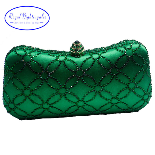Flower Emerald Dark Green Rhinestone Crystal Clutch Evening Bags for