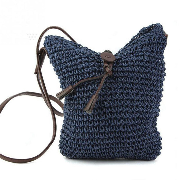 Boho style Small Straw Cross over bag beach bag summer braid