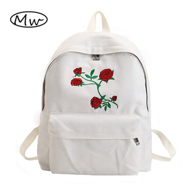 Moon Wood Harajuku Rose Embroidery Backpack White Black Women Travel