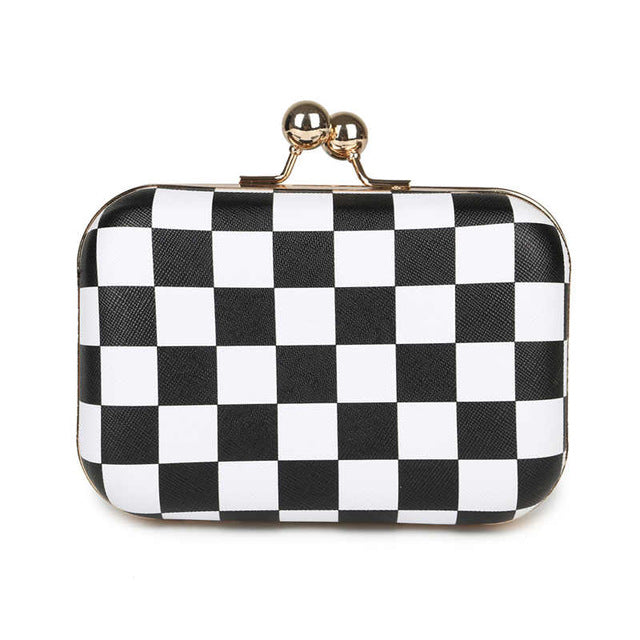 2016 candy color plaid clutch party bags leather women evening bags