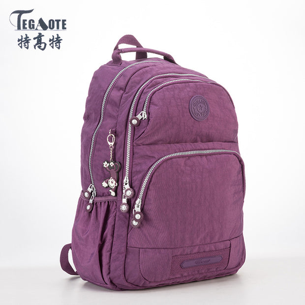 TEGAOTE Light Pattern Backpack Women Mochila Feminina Nylon Waterproof