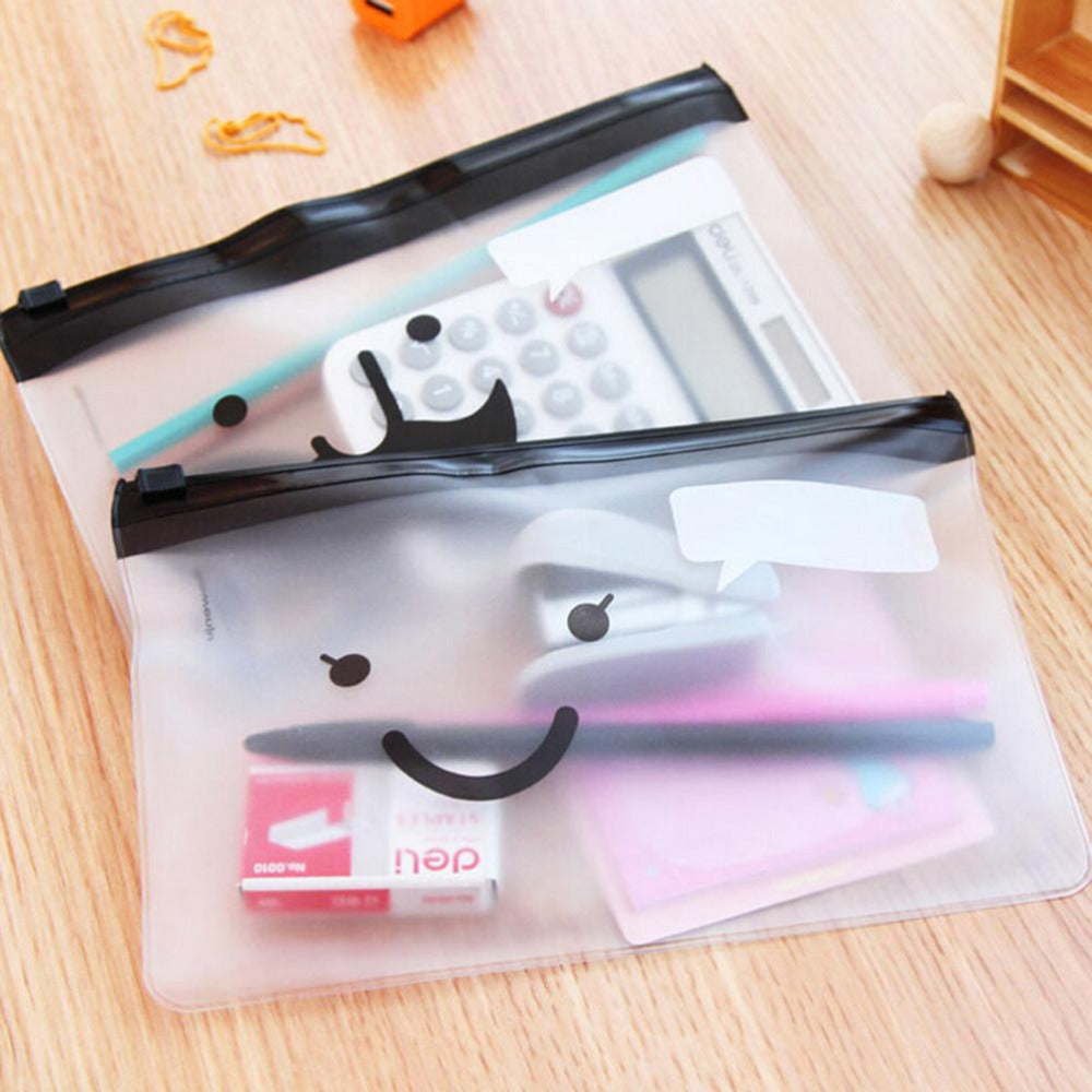 1PCS Travel Toiletry Bag Transparent Moustache Smile Office Cosmetic