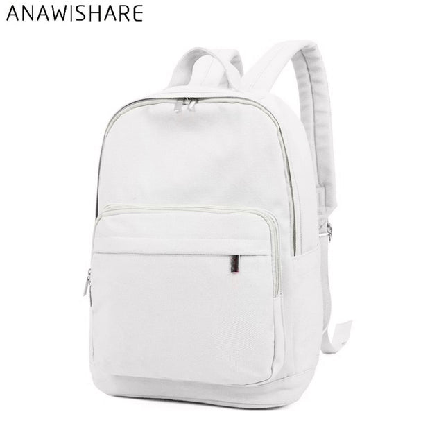 ANAWISHARE Women Canvas Backpacks White School Bags For Teenagers