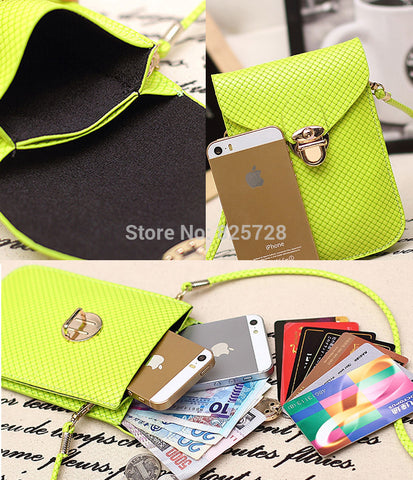 10 Color Small PU Mini Candy Color Double Poeckt Weekend Mobile Phone Coin Purse Key Wallet Holder Shoulder Crossbody Bag