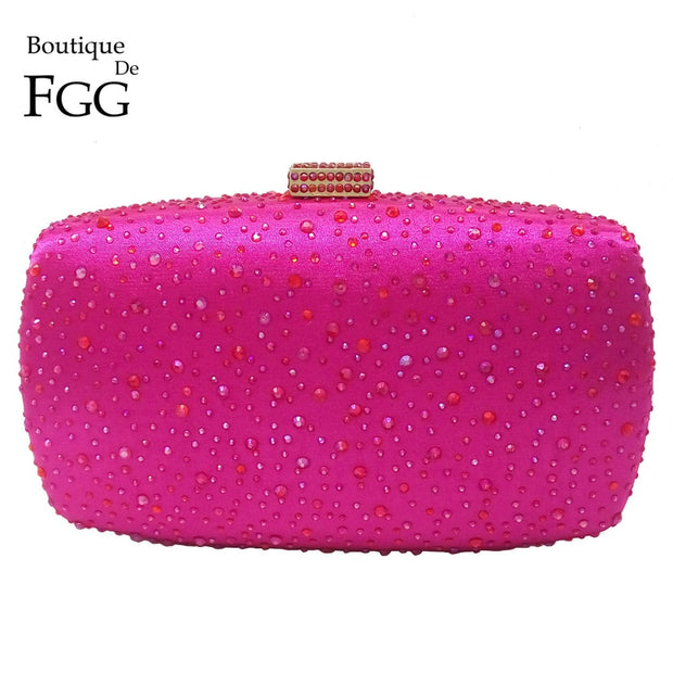 Boutique De FGG Hot Pink Fuchsia Crystal Diamond Women Evening Purse