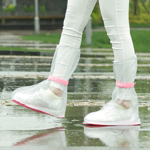 1 piece Small/medium/large women/man/Child shoes bag PVC Transparent waterproof/rainproof Non-slip high boots shoes cover belt