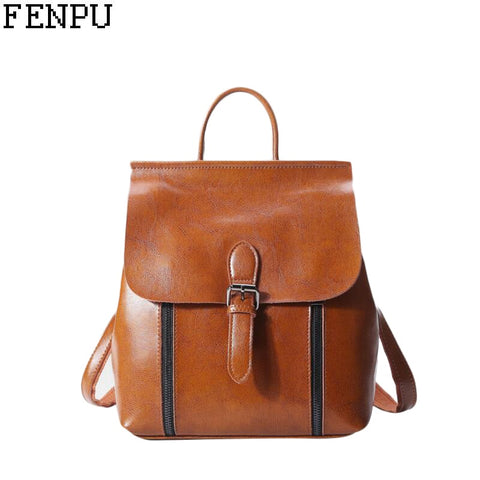 high quality Genuine leather Women Backpack Vintage Backpack For Teenage Girls Casual cowhide School Bags Female Shoulder Bags
