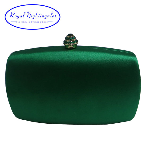 Elegant Hard Box Clutch Silk Satin Dark Green Evening Bags for