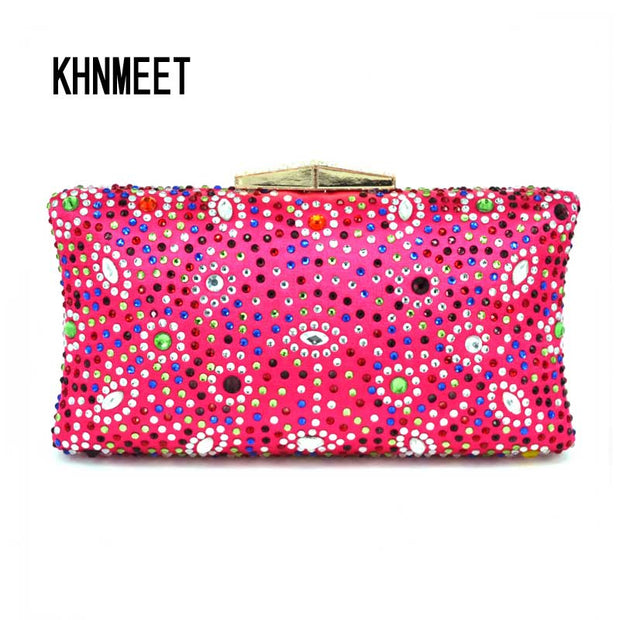 Fushia Crystal Evening Bag Colorful Diamond banquet pochette Purse