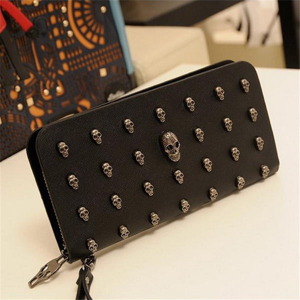 2016 Hot Sale Women Wallets Metal Skull Wallet Card Purse Leather Wristlet Portefeuille Handbags Carteira Feminina