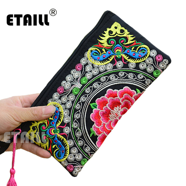 Hmong Thai Indian Embroidered Wristlet Bag Clutch Purse Boho Ethnic