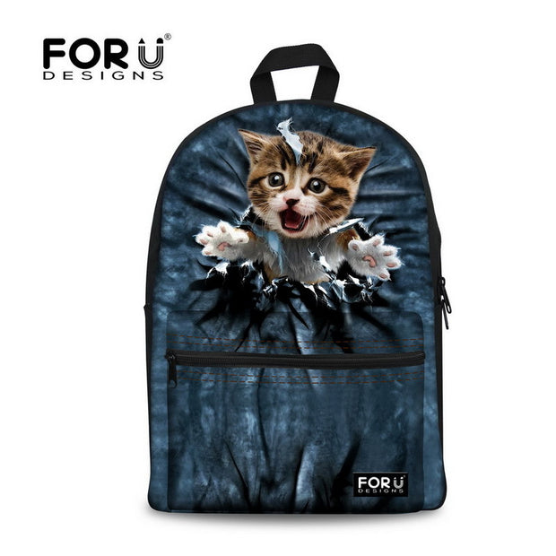 Cute Women Backbag 3D Animal Backpacks Cat Printing School Bagpack for