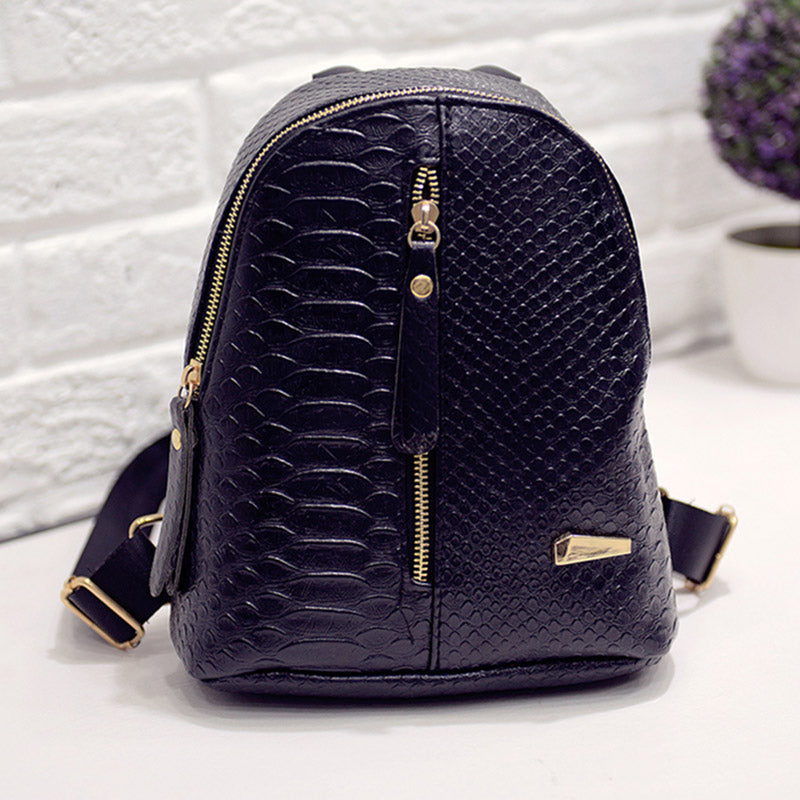 2016 fashion small women backpack black rucksack serpentine pu leather