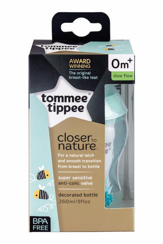 Tommee Tippee 香港 Closer to Nature 260ml 印花奶瓶--綠